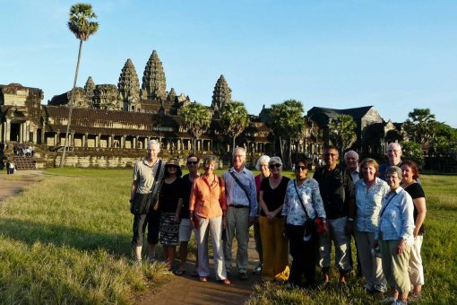 One of our tour groups exhibiting appropriate dress at Angkor Wat!