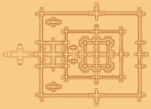Plan of Angkor Wat's inner galleries (graphic by Baldiri)