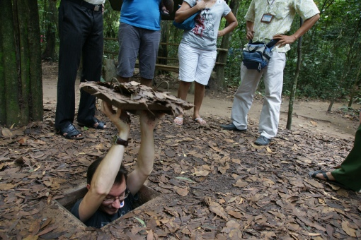 InsideAsia's Simon visiting the Cu Chi Tunnels