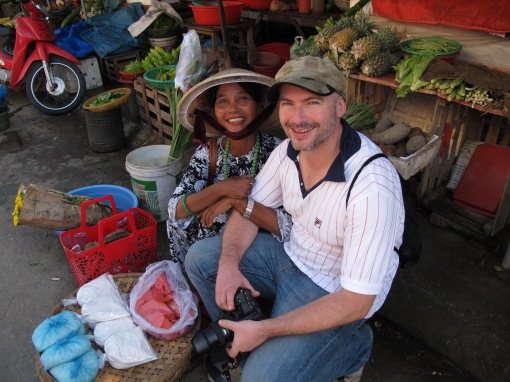 Alastair making friends at the market in Hoi An