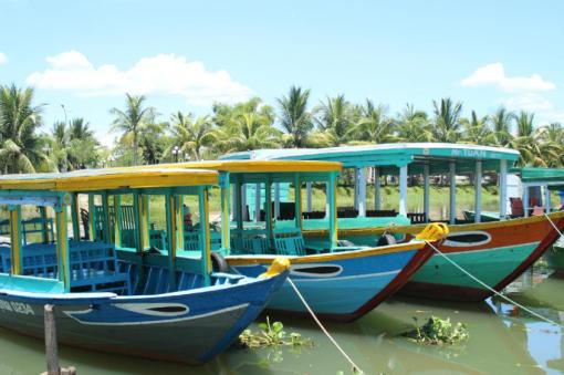 Boats on the riverfront in Hoi An